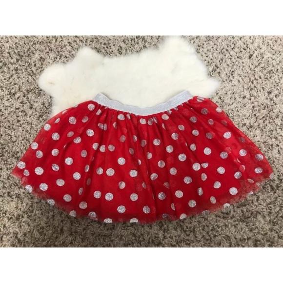 Disney Other - Disney Tutu Mini Skirt Red Silver Polka Dot Sz 6X